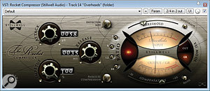 The overhead tracks were heavily compressed with Stillwell Audio's The Rocket compressor, but this left the cymbals feeling slightly harsh, so ToneBooster's Ferox analogue tape emulation was also applied to smooth off the HF timbre.