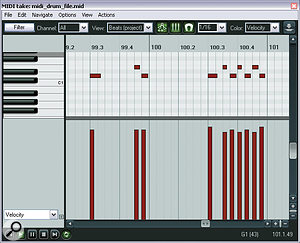 The 'machine‑gun' feel of Ollie's snare fills at the end of the first loud section can be traced to alack of velocity shaping. Compare his original MIDI part (upper screen) to the edited version used in Mike's remix.