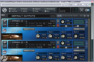 The drum sounds Mike added to the mix came from Sonic Reality's Ocean Way Drums library, running in Native Instruments' Kontakt Player. Mike's settings for the two cymbal sounds can be seen in this screenshot.