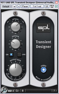 A software version of SPL's Transient Designer (in this case running on Universal Audio's UAD2 platform) was useful for adding snap to both kick and snare. This screen shows the setting used for the former.