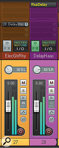 These two screenshots show how a Haas delay effect was used to widen the electric rhythm guitar in this remix. Note the lack of feedback in the ReaDelay plug-in, and the fact that the pan control of the effect return channel is panned further out than the dry channel to maintain a subjectively centred stereo picture.