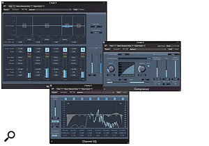 Logic's multiband compressor was used to tackle alittle harshness in the vocal sound, and was assisted in this task by achannel EQ, which dipped at 3.7kHz, but restored some air above that. The compressor was set to quite agentle (2:1) ratio, but with the threshold brought well down, to give alittle solidity to the voice.