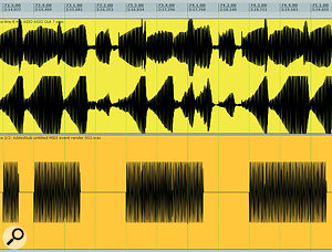 While adding in the sub‑bass synth layer underneath Chris's original bass synth line, Mike took the opportunity to improve the groove by making the programmed addition more rhythmic and punchy.  You can see here how the sub‑bass line (below) is right on the beat grid, where the original line has afairly vague rhythmic outline.