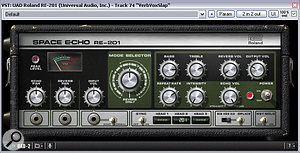 The lead vocal's main slapback delay was deliberately designed not to blend with the dry signal (by using a battered‑sounding patch from Universal Audio's RE201 Space Echo tape‑delay model in combination with a super‑short and wide early‑reflections patch from SSL's X‑Verb Duende plug‑in), in order to give an clearly audible impression of a special effect without distancing the vocal unduly from the listener.