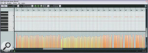 The upper screenshot here shows Ollie's original MIDI cymbal part. Although there are some velocity variations, they're fairly random and not really musically related. Mike's reprogramming of the same part can be seen in the lower screenshot. There's still some random variation, but there's also some more structured velocity sculpting to reflect the musical importance of each individual beat.