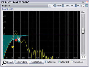 These three screenshots show the EQ curves Mike arrived at for the lead vocal, acoustic guitar, and bass parts during the initial stages of balancing, while attempting to maintain aclear-sounding LF spectrum for these important parts.