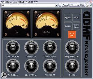 Mike used two different de-essing schemes on the lead vocal. The first was a general-purpose setting from DDMF's NYComp compressor, using a 7.5kHz band-pass filter in the plug-in's side-chain to sensitise it to normal sibilant frequencies; and the second was a more specialised supplementary setup from ToneBoosters's TB_Deesser plug-in, aimed at taming those less frequent sibilants (and indeed other consonants) that focused excessive energy above 10kHz.