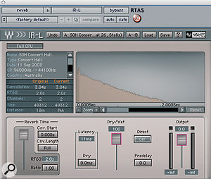 Luke loaded two different instances of Waves IR1 with different impulse responses, and then used blends of the two to help place the different elements in the mix.