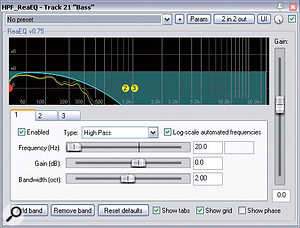 This unusual EQ curve was applied in the final remix to avoid the upper frequencies of a fairly uninteresting bass part from obscuring the more interesting inner details of the piano sound.