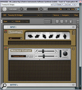 Ollie's main guitar riff sound was built from four takes of DI'd guitar processed with the heavily overdriven settings from Apple Logic's Guitar Amp Pro. To give the sound more edge, Mike mixed in re‑amped versions of the same DI signals, using Native Instruments Guitar Rig 3 (shown) alongside anumber of freeware Simul Analog plug‑ins.