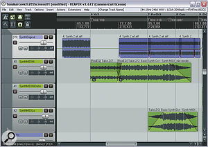 By duplicating Tom's original Pad Synth part (blue track) on two further similar‑sounding soft synths (green tracks), Mike was able to introduce more light and shade during the middle section of the song.