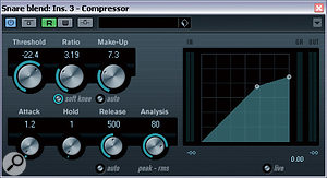 Simply setting too fast a compressor attack time on the snare channel robbed the drum of too much of its 'bite' in the original mix, so this was increased for the remix, allowing more of the drum's leading edge through.