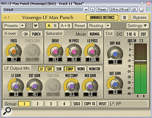 The bass amp used on the session hadn't provided atremendous amount of low end, so Mike enhanced this using Voxengo's specialist LF Max Punch processor.