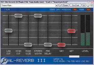 Mike created astereo gated reverb patch from first principles to widen the snare's image in the mix. The raw reverb was generated by Togu Audio Line's TAL-Reverb III, but this was heavily processed with Cockos ReaComp and ReaGate to reach the required short dense burst of reflections.