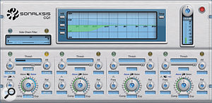 This dynamic EQ setting from Sonalksis CQ1 was used on the floor-tom close mic to reduce sympathetic ringing at low frequencies in response to kick-drum hits.