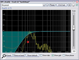 Many of the tracks in Sambasevam's arrangement were well chosen and well programmed, such that they only required abit of filtering and general-purpose dynamics control to fit into the mix, as you can see here from the Cockos ReaEQ and Tone Boosters TB_EZCompressor settings for one of the arpeggiated synth tracks.