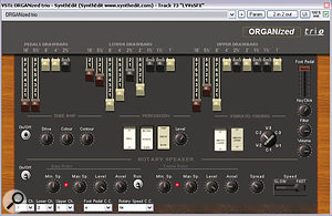 Some of the freeware effects Mike used to combat masking of the lead vocal and piano lines: the rotary‑speaker effect within GSI's Organized Trio virtual instrument; Martin Blankenburg's MooRiMo ring‑modulator; and GSI's Timeverb.