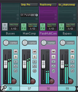 These screenshots show the bus-processing scheme Mike used for this track: a main mix channel with full-band compression/EQ from URS Console Strip Pro; a parallel channel with heavy five-band dynamics from Reaper's ReaEQ; and a 'bypass' channel filtered with Brainworx bx_cleansweep to feed some of the kick-drum's low end past Console Strip Pro to the master outputs.