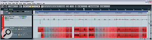 The prominent bass part in this arrangement required some careful level automation at mixdown to maintain aconsistently full low end.