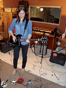 The main guitar part was fattened with low mid-range boost from Leftover Lasagne's freeware Pushtec 5 1A plug-in, and then treated with ashort, single-tap delay panned to the opposite side of the stereo field — the latter effect serving to both blend and widen the part in the mix.