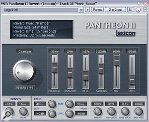 The two main reverb send effects in this mix were a short ambience from Lexicon's Pantheon II plug-in, primarily for 'gluing' the close mics together into a more convincing ensemble, and a longer hall reverb from Universal Audio's DreamVerb, which expanded the acoustic environment into a larger and more flattering space.