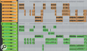 This screenshot shows the full arrangement of the acoustic guitars in Mike's final remix. The orange tracks contain sections of the original recordings, multed to allow different effects-send amounts for the verses and choruses. Below these, the green tracks are those Joe Lonsdale added to fill out the mix sound and introduce some extra performance variety.