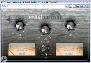 To start with, Mike just used Stillwell Audio's Event Horizon soft‑clipper and Tin Brooke Tales' Tube Limit to control the bass levels and add density to the mid‑range. However, once the guitars had been added to the mix, further processing with Waves Renaissance Bass and Stillwell Audio's Vibe EQ was required to avoid the bass submerging in the mix.
