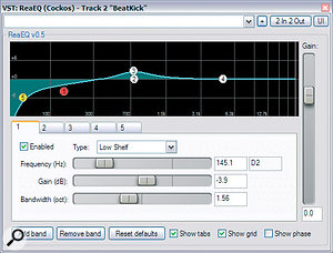 Here you can see the processing that was used to bring the verse and chorus kick‑drum sounds closer together: whereas the chorus kick‑drum received ReaEQ low cuts and Transient Monster attack enhancements, the verse kick‑drum had 12dB of low boost from Leftover Lasagne's 5+1A and ahealthy dose of limiting from GVST's GMax.