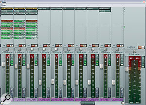 Here you can see the Michael Brauer‑inspired parallel‑compression scheme that Mike used for Kristen's lead vocals. The vocal part was first multed to three different tracks, from each of which it was sent to adifferent combination of the compressors/saturators you can see to the right of the vocal tracks.