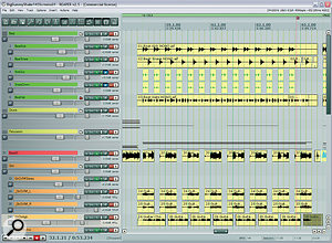 One way in which the rhythm sound was made punchier during the choruses was by using audio editing to damp the guitar and bass notes during gaps in the riffs. Here you can see asection from the second chorus, showing how the edits looked by the end of the final remix.
