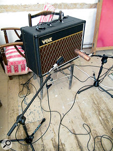 Two mics were used on each guitar amp. Here, the Vox AC15 is miked with aSennheiser MD409 dynamic and an RCA BK5B cardioid ribbon mic.