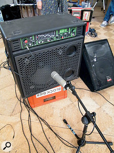 The bass amp was miked with an Electro-Voice RE20, and we also took a DI feed from the effects send.
