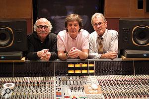The dream team: producer Tommy LiPuma (left), Paul McCartney, and engineer Al Schmitt.