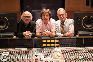 The dream team: producer Tommy LiPuma (left), Paul McCartney, and engineer Al Schmitt.