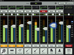 The main mixer screen. Fader banks are accessed by swiping horizontally, while swiping vertically shows the selected channel's EQ and dynamics pages.