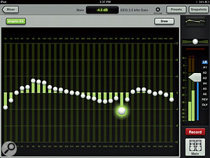 Each of the aux outputs, as well as the main mix out, has access to a31-band graphic EQ.