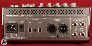 The rear of the Onyx 820i is home to the unit's two Firewire sockets, XLR duplicates of the main outputs and the Control Room and Alt outputs.