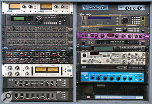 Some of the rackmount gear at Awira Sound. From top left: Urei LA4 compressor, Digitech Studio Vocalist harmony processor, Drawmer DS201 gate (x3), Dbx 266 and 166 (x2) compressors, Urei 1176 compressor, ART 172 graphic EQ (x2); MXR Auto Phasers (x2), Eventide H3000 Harmonizer, Roland SDE330 delay, Line 6 Filter Pro, Roland SDE3000 delay, Alesis Quadraverb reverb, Akai MFC42 filter, MXR Pitch Transposer, Lexicon 480L reverb.