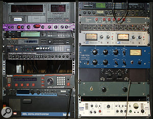 More of the rackmount gear at Awira Sound. From top left: Alesis HD24 multitrack recorder, Line 6 Filter Pro, Alesis Quadraverb, Roland SDE330 and SDE3000, TC 1210 Spatial Expander, Eventide H3000, Lexicon PCM80 reverb; TC Fireworx multi–effects, Electrospace Spanner auto–pan, Furman RV1 reverb, Drawmer DS201, Urei LA4, Tube–Tech CL1B compressor, Pultec HLF3C EQ and TL Audio 5060 compressor.