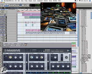 Most of the music created in-house relies heavily on software synths, especially the Native Instruments stable.