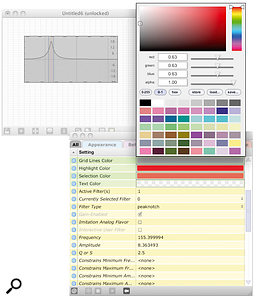 Colour and behaviour settings for a  filter graph interface.
