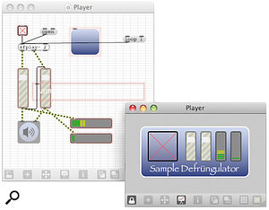 A fictional 'sample defrungulator' patcher window in its raw layout and its pretty Presentation Mode.