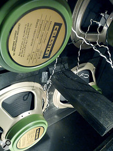Choice of loudspeakers makes abig difference to guitar sound. Shown here are two popular choices from Celestion: G12M 'greenbacks' and Vintage 30s.