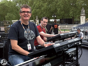 Mike at his keyboard rig prior to the concert at Buckingham Palace.