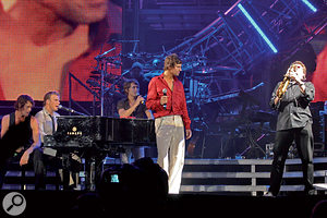 Stevens (right) has been a major part of Take That's touring band since 1996.