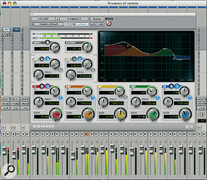 The four-band EQ used to clean up the bass drum before mixing. Luke used the Q control to narrow the bandwidth of the EQ, in order to remove unwanted spill from other instruments without losing the high-mids that produce the click sound of the beater. This was done before severe compression was used to bring a more consistent level to the kick beats.