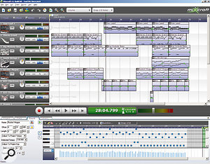 Perhaps the most important new feature in Mixcraft 4 is MIDI recording and editing, with a conventional piano-roll editor appearing in the lower half of the window when MIDI parts are double-clicked.
