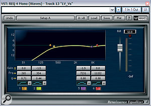 A combination of corrective and creative processing was used to create the verse vocal sound. Waves' Renaissance EQ dealt with excessive proximity effect and a little harshness at around 7kHz, while their Neve‑inspired VEQ4 plug‑in added some beneficial transformer character, as well as brightening the sound overall. Stiff compression with Waves' Renaissance Vox kept the sound fixed fairly well in its position in the mix balance, although this did also emphasise sibilance, so Waves' De‑esser was pulled up to take care of that.