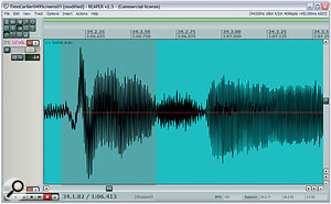 The lead vocal part had some pronounced low‑frequency thumps on plosive consonants, one of which you can see highlighted in the waveform display in the top screenshot here — the spectral content of that section of audio can be seen in the spectral display screen. The vocal EQ setting Mike used within Stillwell Audio's 1973 plug‑in included a high‑pass filter which stopped these low‑frequency thuds interfering with dynamics processing later in the mix, and you can see how it removed the low‑frequency waveform excursions in the screen at the bottom left.