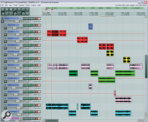 The process of splitting individual audio tracks between a number of different channels (often known as multing) was vital to achieving successful long‑term dynamics within this mix. Here you can see how many parts, including vocoder effects in the song's intro, and synth parts, had been multed by the time the mix was complete; the audio is coloured to show which regions originally belonged together.